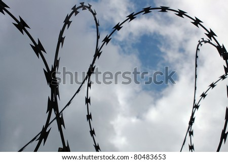Menacing Dark Silhouetted Razor Wire Against Brooding Sky