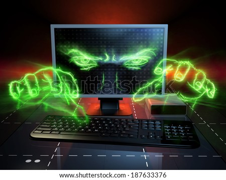 Menacing eyes and hands coming out from a computer monitor. Digital illustration. - stock photo