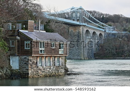 Menai Bridge and River House, Anglesey, North Wales, January 2017