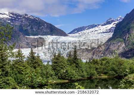 Mendenhall Glacier in Juneau, Alaska. - stock photo