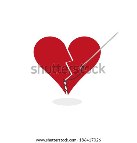 Mending a Broken Heart Concept Digital Illustration. Metaphorically fixing a broken heart with needle and thread. The stylized heart is red and broken into two pieces. (Flat colors; isolated on white) - stock photo