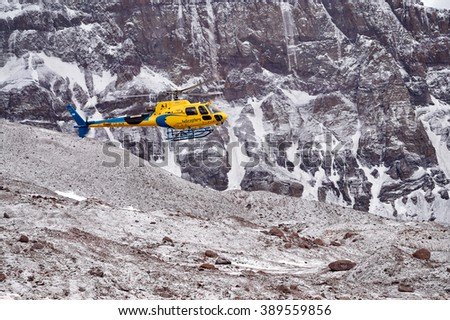 MENDOZA, ARGENTINA - JAN 5: Rescue Helicopter at Plaza Argentina .  This season 140 people were evacuated. Jan 5, 2016 in Aconcagua Mount, Mendoza, Argentina