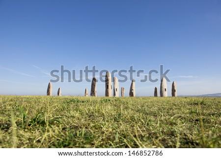 Menhirs Park at coruna, Galicia, Spain - stock photo