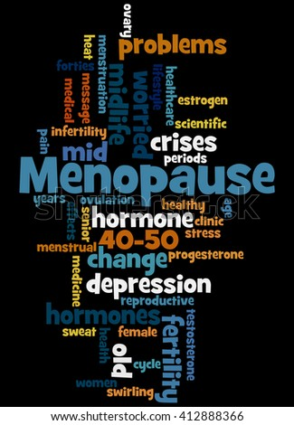 Menopause, word cloud concept on black background.