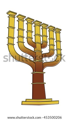 Menorah on white background, Clipping path included.