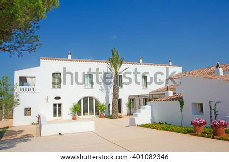 Menorca, Balearic Islands: a white house in the minorcan countryside on July 11, 2013