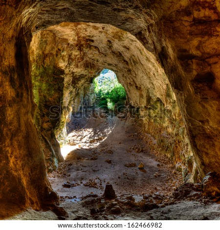 Menorca Cova dels Coloms Pigeons cave in es Mitjorn at Balearic island - stock photo