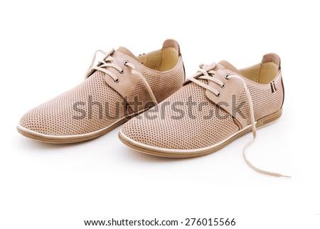 Mens beige elegant leather shoes,  isolated on white background. - stock photo