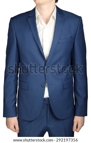 Mens business suit, ocean blue color, isolated on white. - stock photo