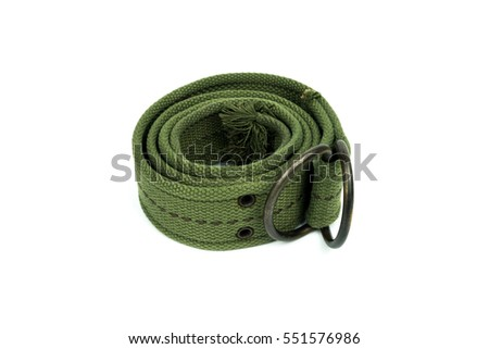Mens Canvas Belt Old, Green Color on white Background