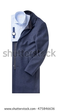 mens overcoat with shirt isolated on white.