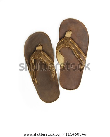 Mens sandals on white background - stock photo