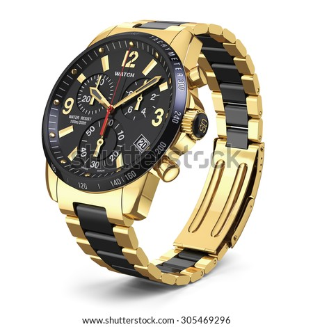Mens swiss mechanical golden wrist watch with stainless steel wristband and black dial, tachymeter, chronograph. Isolated on white background 3d - stock photo