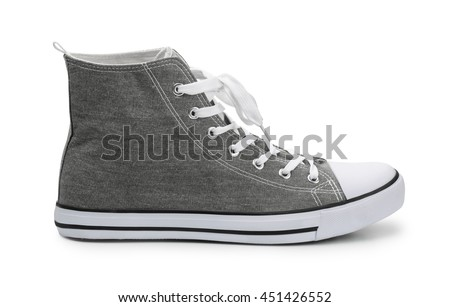 Mens textile upper sport shoe isolated on white