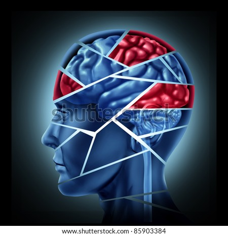 Mental disability with brain injury and neurological disorder represented by a human head  broken in pieces to symbolize a severe medical mental trauma and cognitive illness on white background. - stock photo