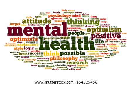 Mental health concept in word tag cloud on white - stock photo