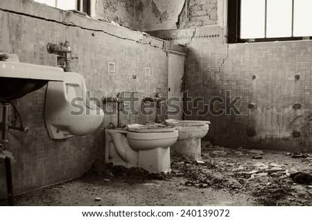 Mental Hospital Bathroom - stock photo