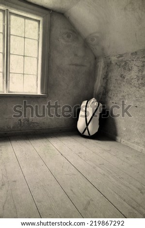Mental patient with fear of his mother - stock photo