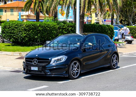 MENTON, FRANCE - AUGUST 2, 2014: Motor car Mercedes-Benz W176 A-class at the city street. - stock photo