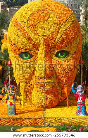 MENTON, FRANCE - FEBRUARY 20: Lemon Festival (Fete du Citron) on the French Riviera.The theme for 2015:Tribulations of a lemon in China. Menton, France - Feb 20, 2015