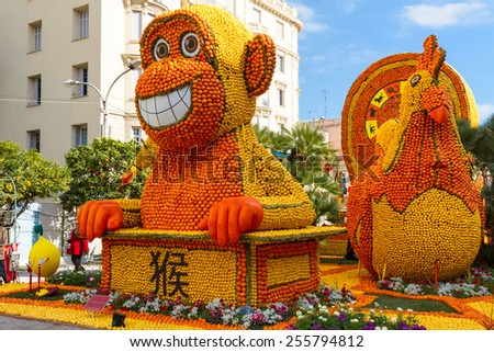 MENTON, FRANCE - FEBRUARY 20: Lemon Festival (Fete du Citron) on the French Riviera.The theme for 2015: Tribulations of a lemon in China. Menton, France - Feb 20, 2015
