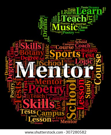 Mentor Word Meaning Adviser Mentors And Mentoring - stock photo