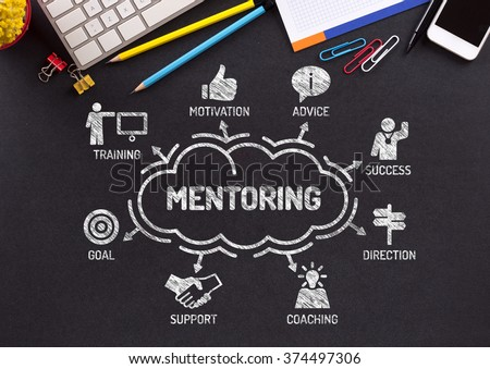 Mentoring. Chart with keywords and icons on blackboard - stock photo