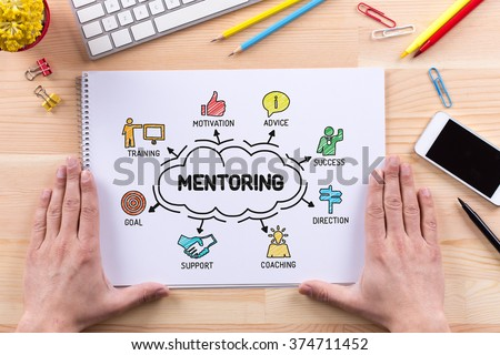 MENTORING sketch on notebook - stock photo