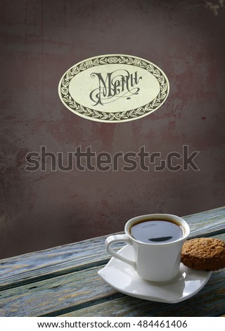 Menu background with cup of coffee