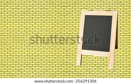 Menu blackboard on wall  Brick background - stock photo