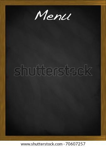 Menu blackboard with copy space - stock photo