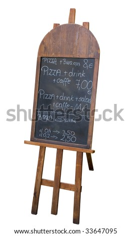menu board with a special offer outside an Italian restaurant - stock photo