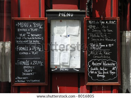 Menu boards at restaurant in France