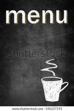 Menu chalk board with empty frame and cup of coffee, concept restaurant design