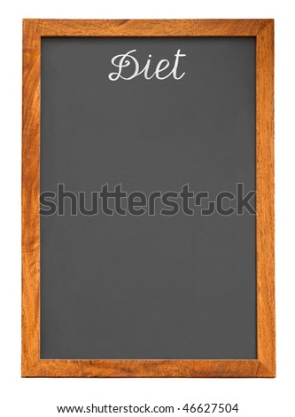 Menu chalkboard for diet food list isolated on white background
