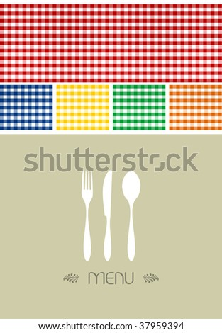 Menu design for restaurant or coffee shop. Cutlery silhouette and tablecloth texture. Food motif background.