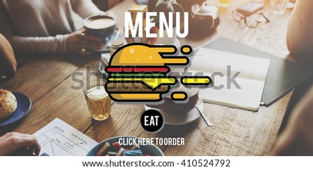 Menu Restaurant Order Now Online Burger Fast Food Concept - stock photo