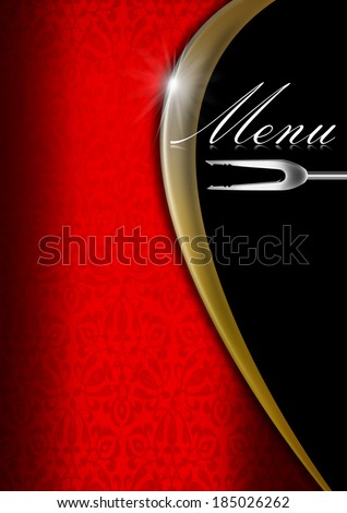 Menu Template  - Red Gold and Black / Red velvet background with ornate floral seamless and gold metal wave, template for a elegant menu - stock photo