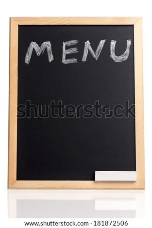 Menu title written with chalk on blackboard, isolated on white background  - stock photo
