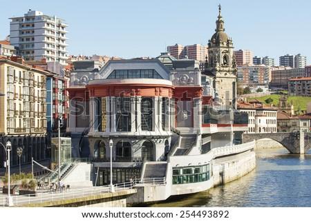 Mercado de la Ribera in Bilbao, Bizkaia, Basque country, Spain. - stock photo