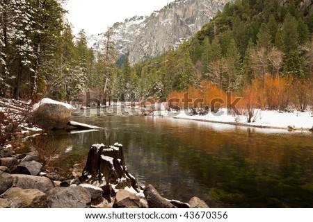 Merced River in Winter in Yosemite National Park, California. - stock photo