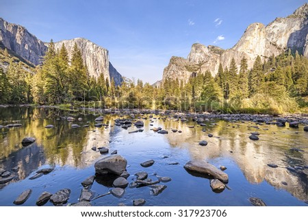 Merced River in Yosemite National Park at sunset, California, USA.