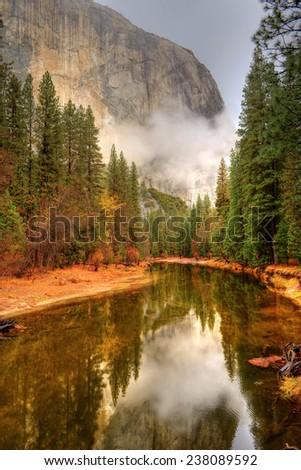 Merced River Yosemite Valley National Park California in autumn - stock photo