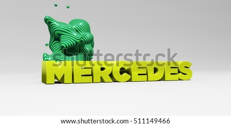 MERCEDES -  color type on white studiobackground with design element - 3D rendered royalty free stock picture. This image can be used for an online website banner ad or a print postcard.