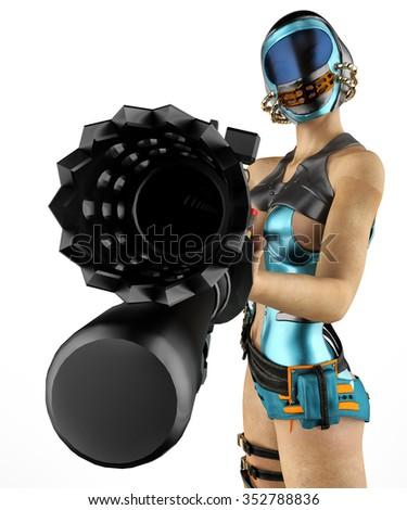mercenary girl freeze - stock photo