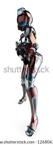mercenary girl in action - stock photo