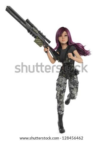 mercenary girl running - stock photo