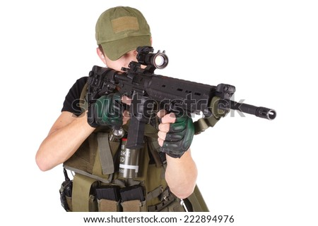 mercenary with m16 rifle isolated on white