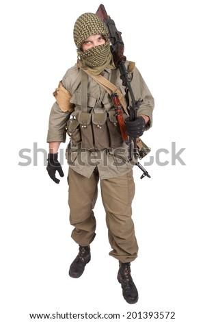 mercenary with machine gun - stock photo