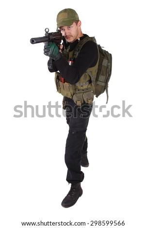 mercenary with mp5 submachine gun isolated on white - stock photo